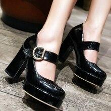 ace8bca05 SARAIRIS 32-48 Grande Tamanho Mulheres Mary Jane Sapatos Grossos sapatos de Salto  Alto Do Vintage Plataforma Dedo Do Pé Redondo .