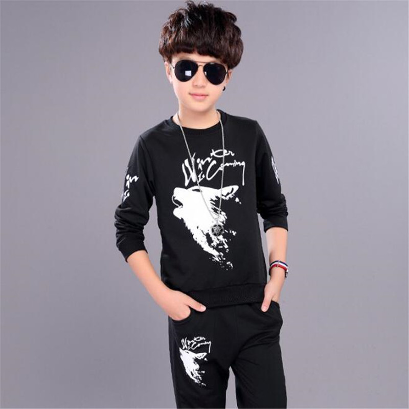Big Boys Clothing Set Autumn Sweater+Pants 2pcs Suit Children Sweater Shirt Long Trousers Clothes Kids Pullover Coat O-Neck