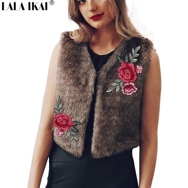 54b066d275b Fashion Winter Women Embroidery Floral Faux Fur Vest Solid Colors Plus Size  3XL Brown Femme Short Ladies Fur Coats SWQ0382-45