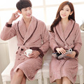 2016 Brand Couples Pajamas Robe Lovers Long Sleeve Sleepwear Coral Fleece Flannel Bathrobes RobesThicken Bathrobes for Women/Men