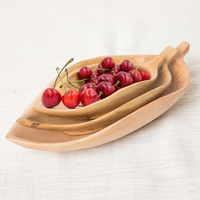 Leaf Shape Wooden Fruits Plate Japan Style Natural Wood Nuts/Snacks Serving Tray Creative Dining Room/Restaurant Tableware Decor