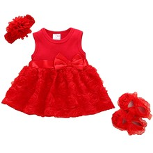 23322e6cc8 Summer New Born Baby Girls clothes Rose flower dress 1-2years Party Dress  Shoes Set