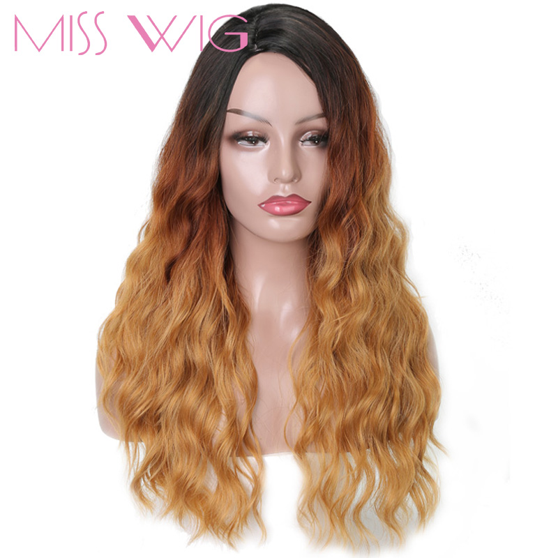 MISS WIG Long Synthetic Wigs Black Ombre Brown Blonde Natural Wave Wigs For Women 21Inches 250g High Temperature Fiber