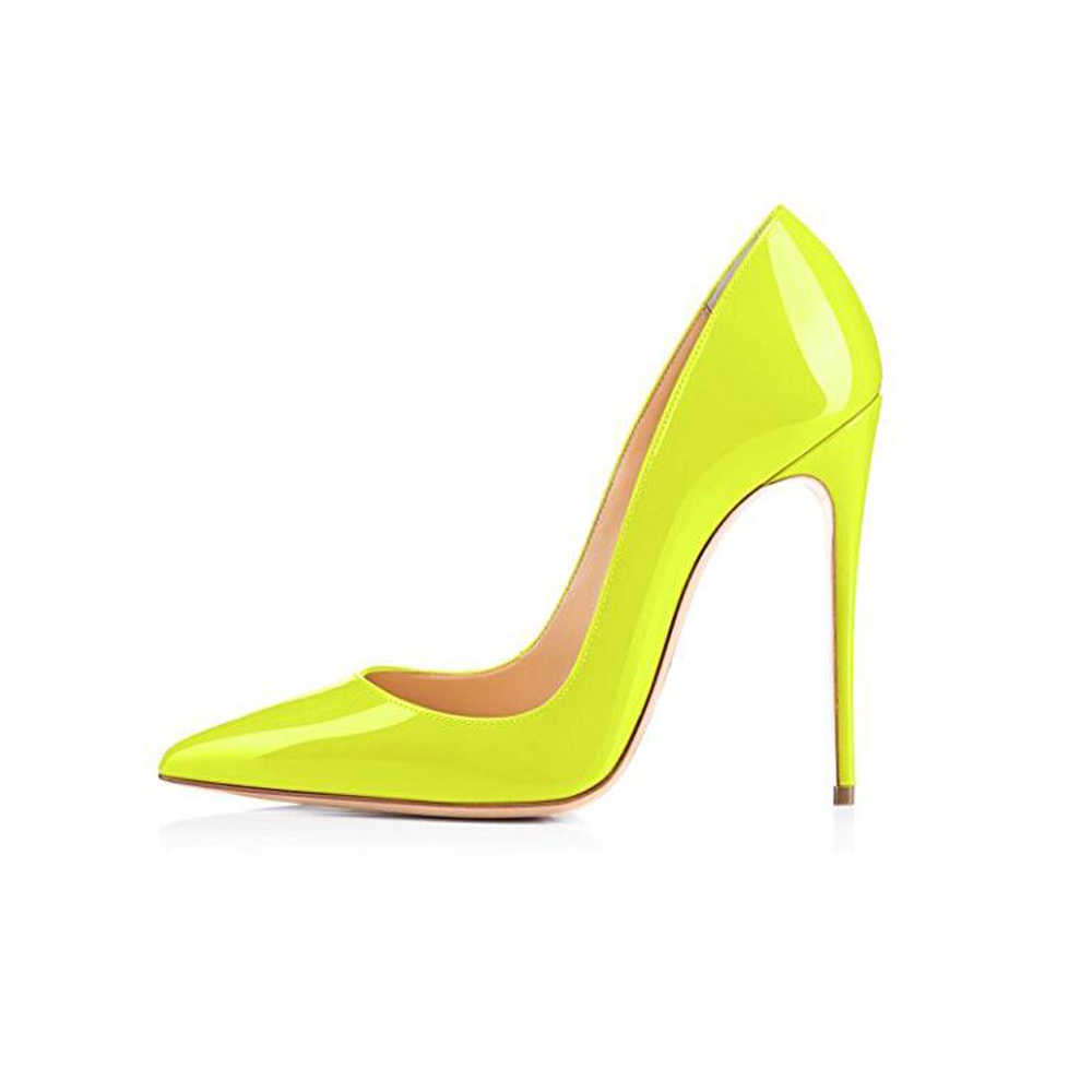arriving best choice famous brand GENSHUO Brand Shoes 10 12CM Heels Women Shoes Pumps Stiletto Neon Yellow  Sexy Party High Heels Shoes Big Size 10 11 12