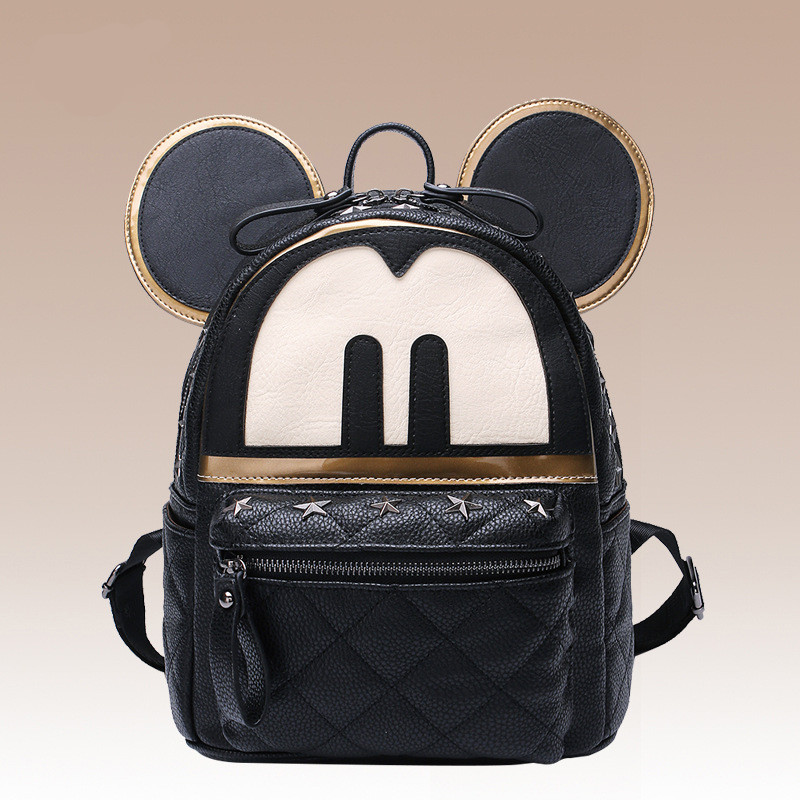 Cute Mickey Backpack Women Rivet Feminina Backpacks High Quality Pu Bagpack leather School Bags For Girls Mochila Rucksack new brand women backpack high quality leather backpacks mochila school bags for girls satchel rucksack bags fashion gift 1 pcs