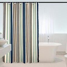 Элегантные тканевые занавески для душа с вертикальными полосками, устойчивые к плесени, моющаяся Водонепроницаемая занавеска для ванной, занавески для ванной