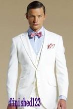 New Design Two Button Ivory Groom Tuxedos Groomsmen Men's Wedding Prom Suits Bridegroom (Jacket+Pants+Vest+Tie) K:901