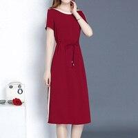 2019 new short sleeved dress Korean fashion loose foreign big size fat mm summer dress slim dress