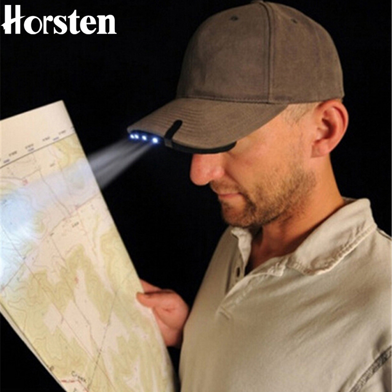 Horsten New Iron Clip Head Lamp 5 LED Battery Powered Head Light For Fishing Camping Memburu Hiking Hat Torch Hunt Cap Headlight