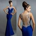 Royal Blue Mermaid Vestidos de Noche Apliques Transparente Volver Largos Vestidos de Noche Formal Vestido De Fiesta Fiesta Vestidos Kaftan