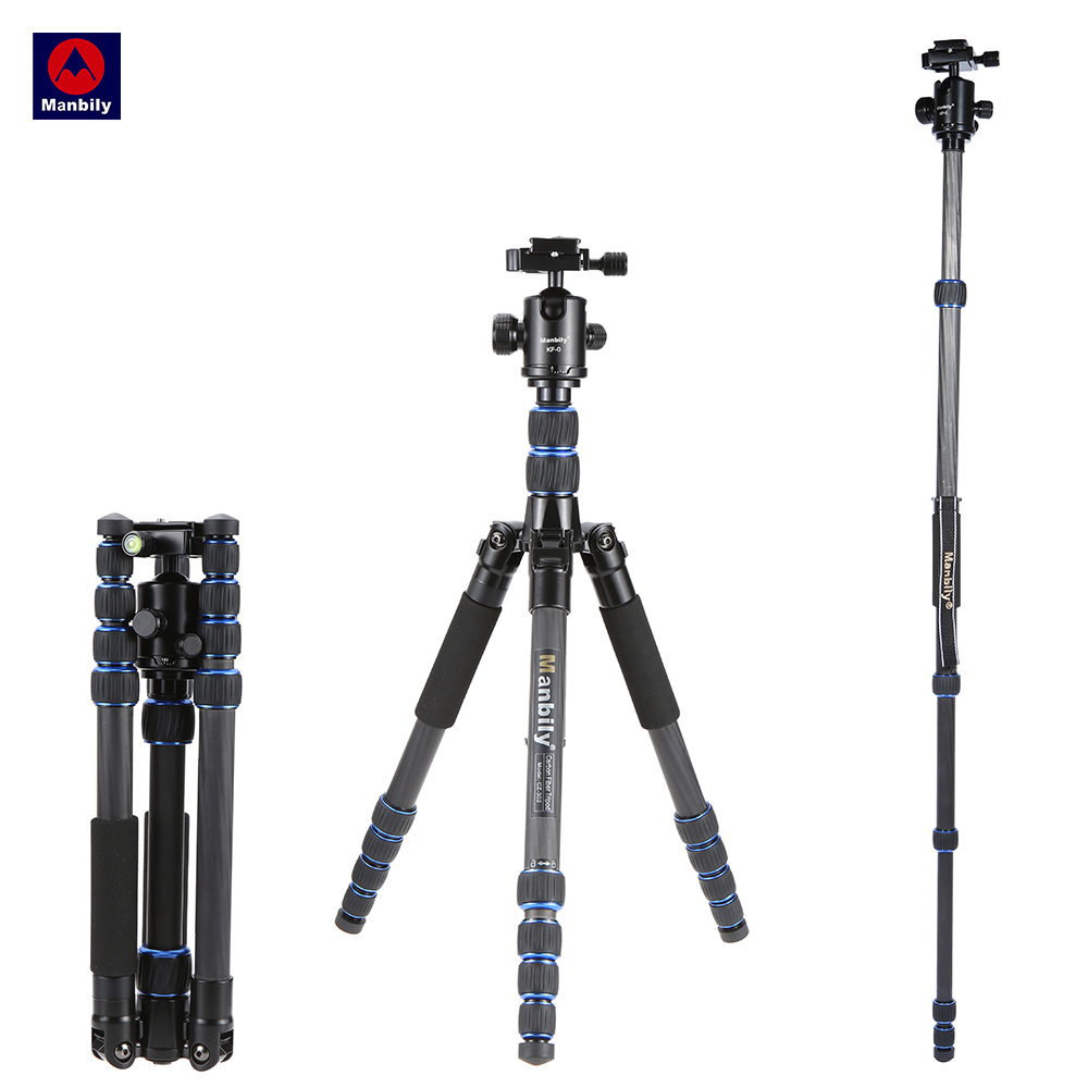 Manbily CZ-302 5 Sections Professional Carbon Fiber Tripod Kit Travel Camera & DV Tripod Stand Includes KF-0 Ball Head Load 15kg load 15kg manbily cz 302 5 sections carbon fiber walking stick video monopod tripod with kf 0 ball head for dslr camera