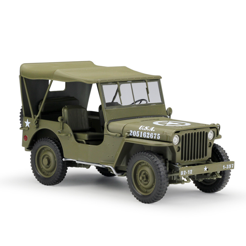 1//48 WW2 Willys Jeep Assemble Model Military Vehicle Model Toy Car Collections