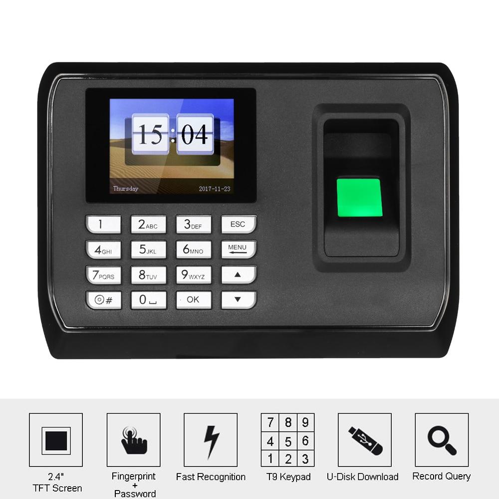 2 4 inch TFT LCD Screen Biometric Fingerprint Password Attendance Machine Employee Checking in Recorder Time
