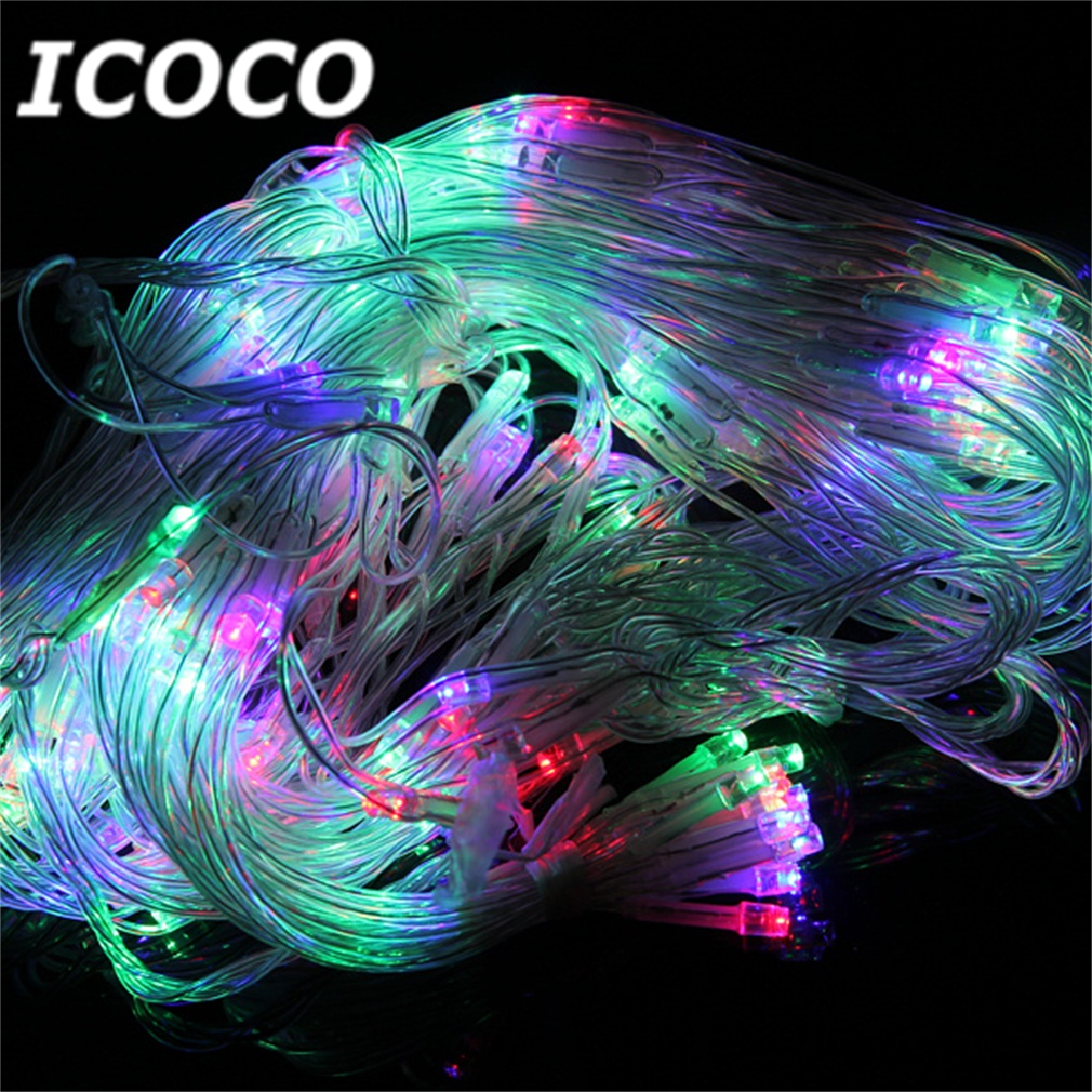 ICOCO 400 LEDs 1.9m Net Fairy Light with 8 Modes for Outdoor Fence Wall Tree Christmas Wedding Festival Home Decor Drop Shipping 6 leds fence lamp