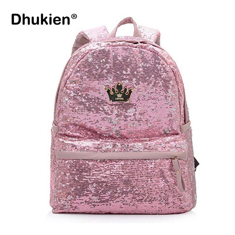 High Quality Sequin Backpacks Women Pu Leather  Backpack Student School Bags for Teenage Girls Cute Mochila Femina B15363 2017 high quality women backpack vintage backpacks for teenage girls fashion large school bags pu leather black bag mochila