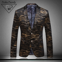 Proka pnordy Подиумные Свадебные Пиджаки Для мужчин модные золотые сценические костюмы блейзер мужской двубортный партии Цветочный Принт блейз