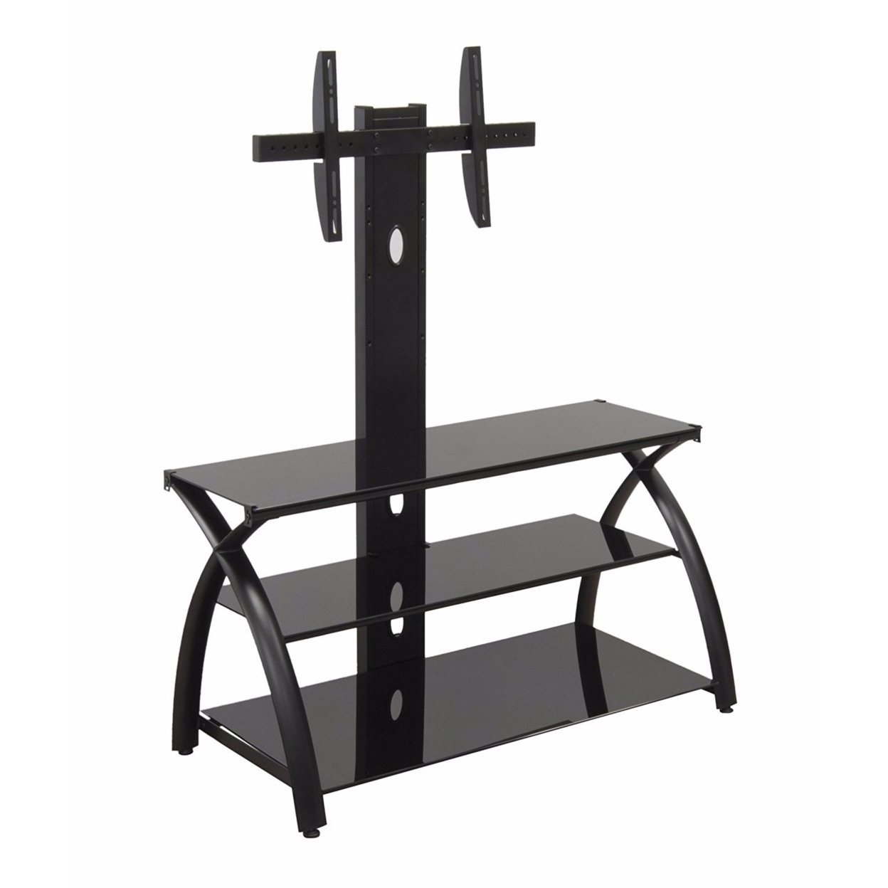 Offex Home Office Futura TV Stand with Tower Glass - Black/Black