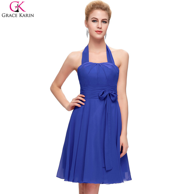 67fc1f42ab421 Grace Karin Halter Short Red Pink Fuchsia Royal Blue Purple Cheap  Bridesmaid Dresses Under 50 Chiffon 2017 Wedding Party Dress