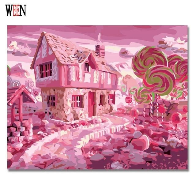 Ween Permen Rumah Manis Wonderland Lukisan Dengan Angka Di Atas