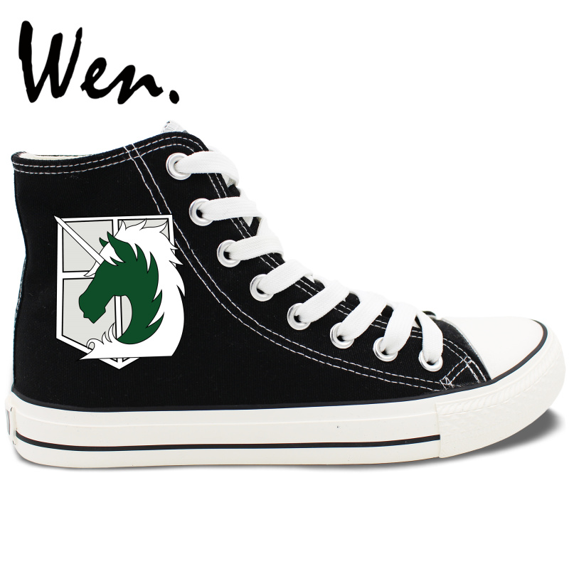 ФОТО Wen Anime Shoes Design Attack on Titan Military Police Regiment Logo Stationed Corps High Top White Black Canvas Sneakers