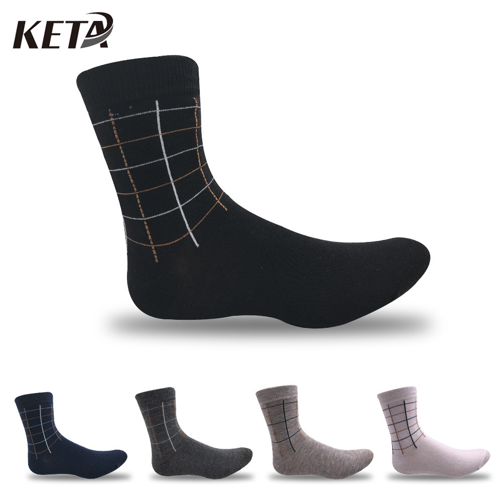 KETA Brand Fashion Men Business Socks Classic Plaid Striped Cotton Soft IN Tube Dress Sox Casual Socks 5Pairs Calcetines Meias