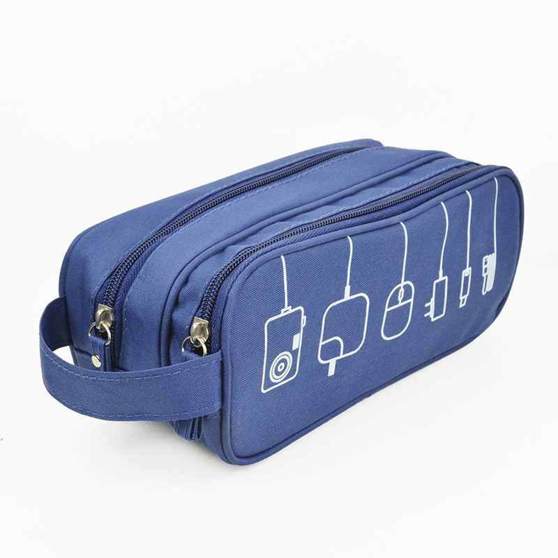 Travel Digital Gadget Storage Bag USB Cable Cord Earphone Organizer Case 2 Layer Bags AB@W3