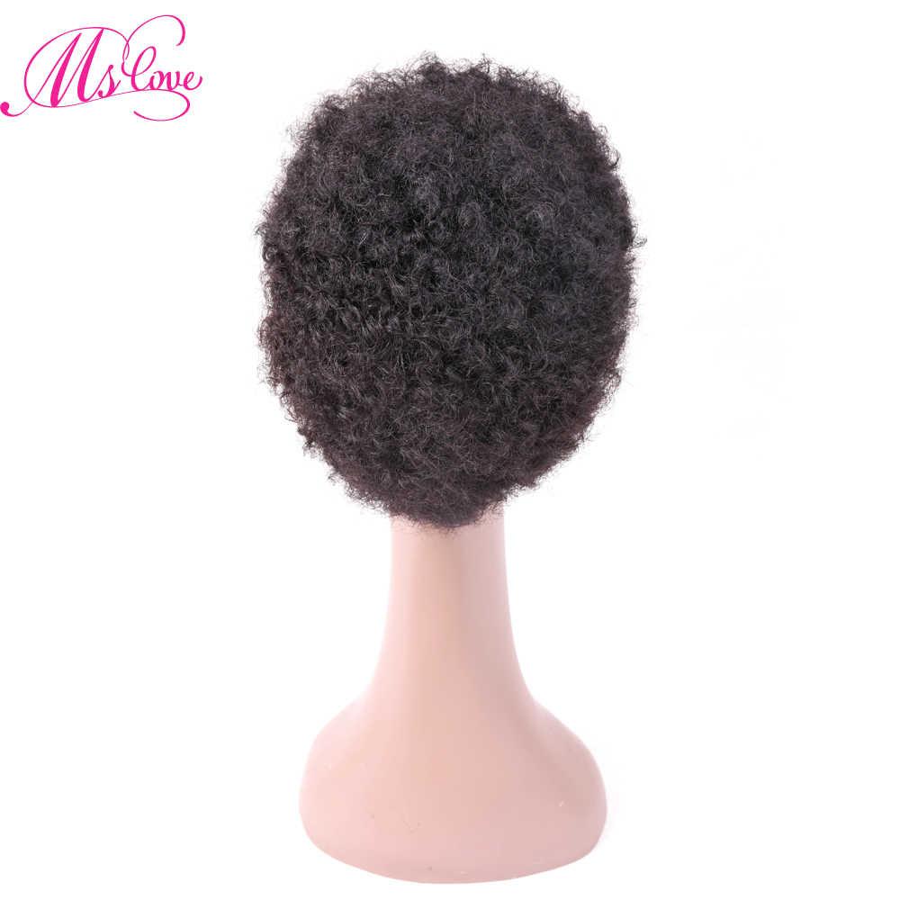 MS Cinta Pendek Keriting Rambut Manusia Wig Afro Kinky Curly Gaya Afrika untuk Wanita Hitam Non Remy Curly Wig Gratis pengiriman