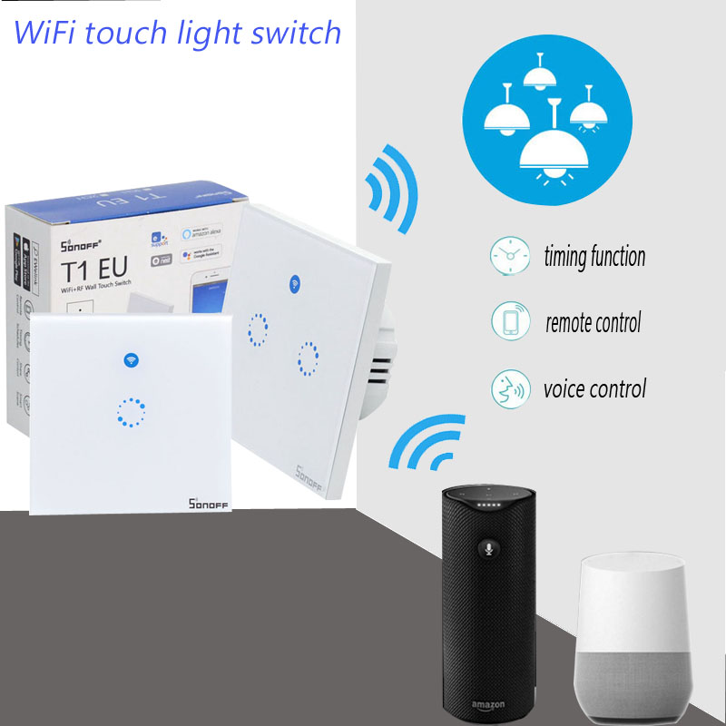 T1 EU Smart Wifi Wall Touch Light Switch 1 Gang 2 Gang Touch/WiFi/433 RF/APP Remote Smart Home Controller Work with Alexa