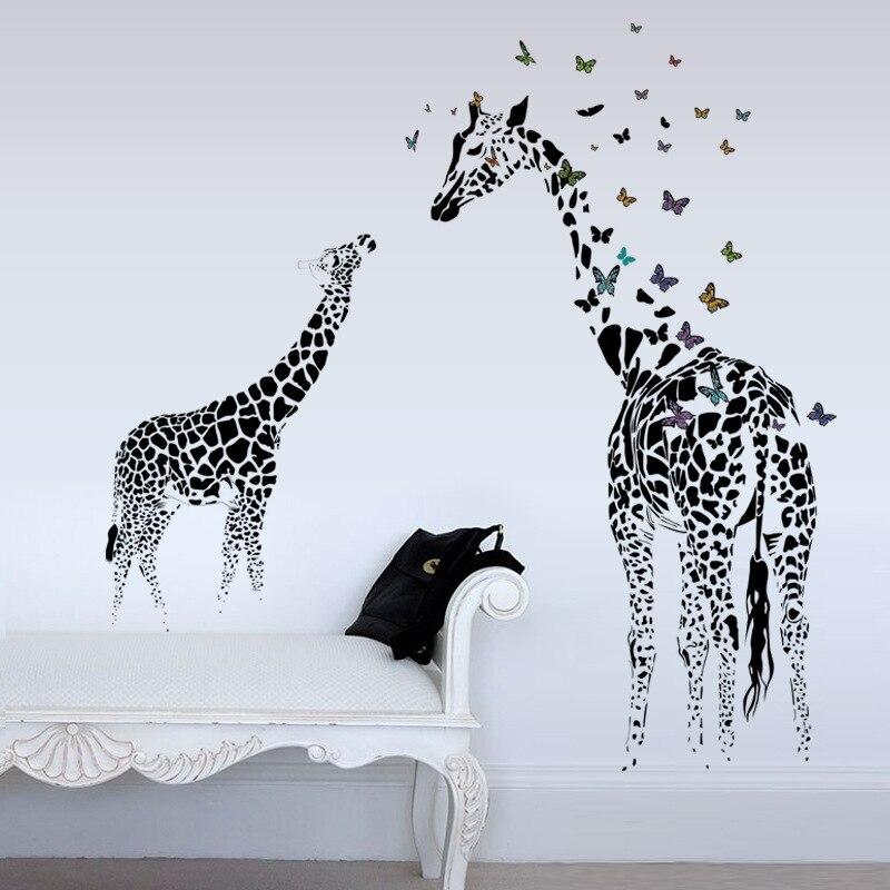 Большой Жираф Наклейки на стену Съемные Виниловые Наклейки на стены Животные бабочка черный Книги по искусству росписи для Гостиная Домашн...