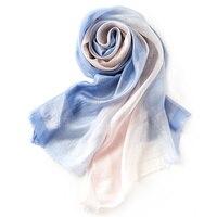 90 Modal Ladies Silk Scarf Luxury Brand Pure Color Gradient Fashion Cool Feeling Beach Shawl Foulard
