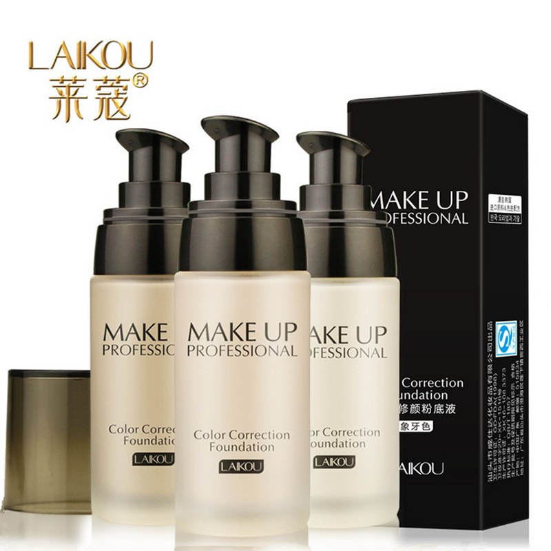 LAIKOU Whitening Flawless Full Coverage Fulid Liquid Foundation Concealer Moisturizer Oil-control Waterproof Makeup Cosmetic 40g laikou roller cc cream makeup concealer powder foundation