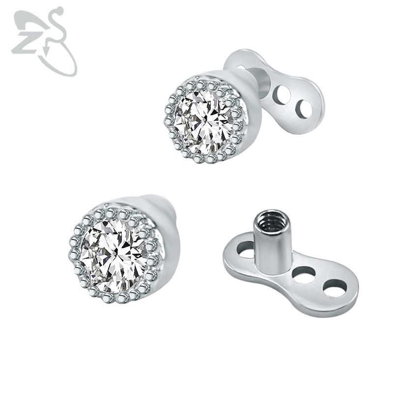 64563c6ee31a Tiny ancla Dermal con cristal ZIRCON piedra Acero quirúrgico implantes  micro Dermal piercing superficie Tops ocultar