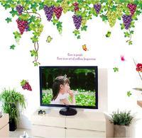 Diy große frische trauben wandaufkleber wohnzimmer schlafzimmer adesivo de parede vinyl tv hintergrund dekoration tapeten wohnkultur