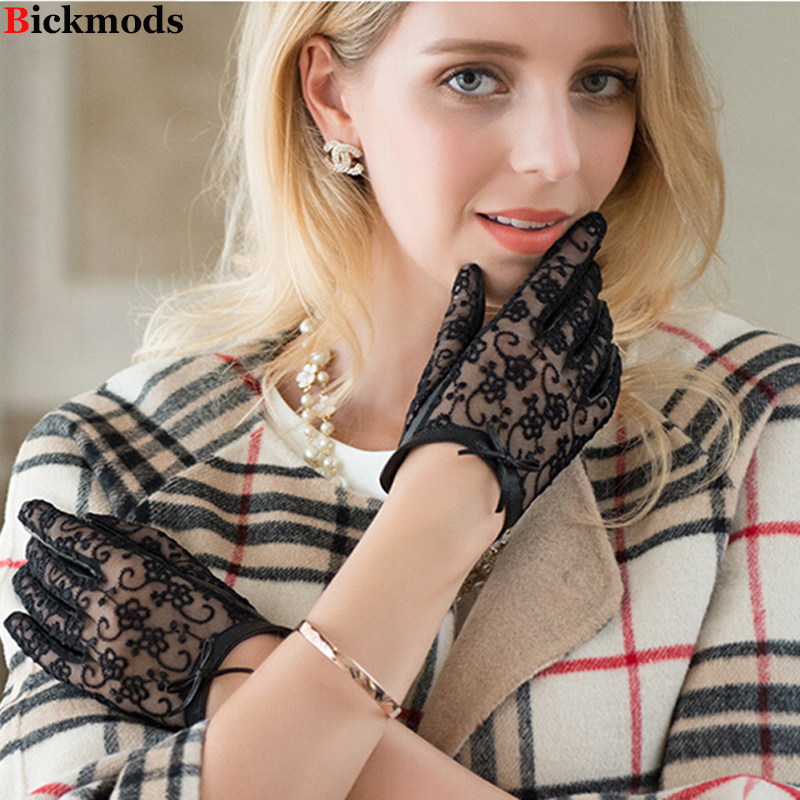 Lace Touch Screen Gloves Women's Thin Sheepskin Gloves Variety Of Colors 2018 New Short Bow Knot Female Leather Driver Gloves