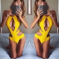 2016 Solid Hollow Out One Piece Swimsuit Backless Cross Sexy Swimwear Women Bathing Suit Monokini Bodysuit