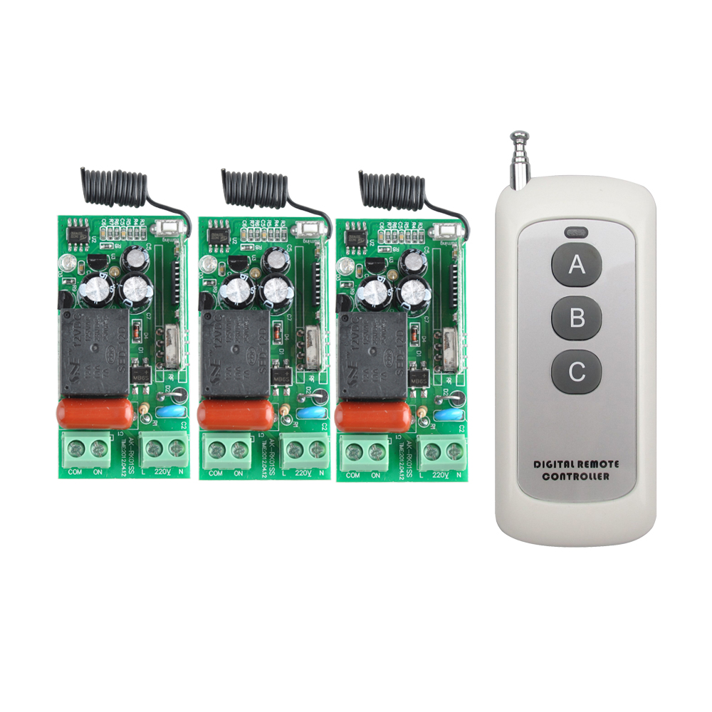 AC 220 V 1CH Wireless Remote Control Switch System 3PCS Receiver + 3 Buttons Transmitter 315mhz/433.92mhz ac 220 v 1 ch wireless remote control switch system 4x transmitter with 2 buttons 1 x receiver light lamp ledon off 315 433mhz