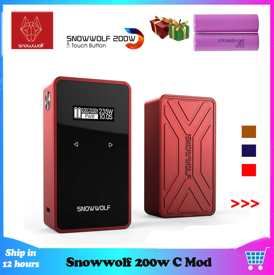 Newest Original Snowwolf 200w-c Mod Box Fit 18650 Battery Touch Sreen Vape Box Mod With max 235 Watt E Cigarette VS LUXE Mag Mod