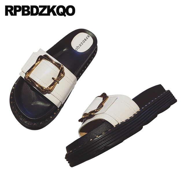 6fe30f894c0c7 Platform Ladies Flat Sandals Flatform Stud Comfortable White Rivet Slip On  Luxury Shoes Women Designer Embellished Slides 2018