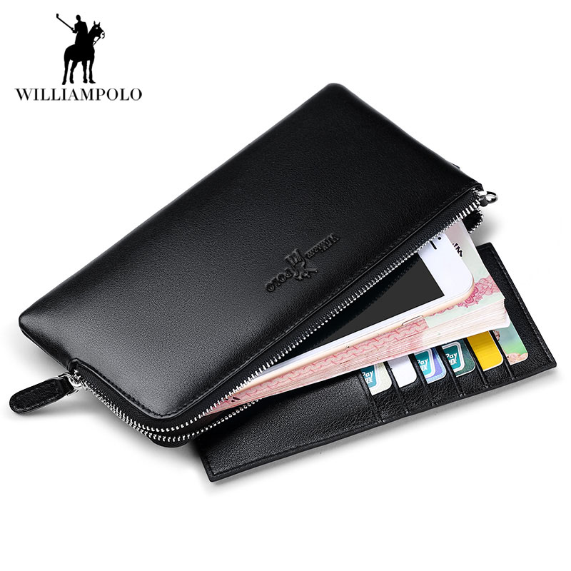 Casual Real Genuine Leather Men Wallet for Women Long Phone Case Zipper Wallet Brand Design High Quality Female Men Purse 2017 contact s 100% genuine leather wallet men long vintage cow leather casual purse brand design high quality wallets cell phone bag
