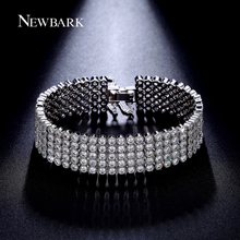 NEWBARK 5Rows Bracelets & Bangles Wide Bracelet Tiny Cubic Zirconia Luxury Pulseras Mujer 17cm/19cm Jewelry Wedding Gift