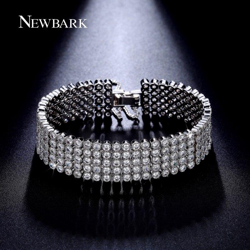 NEWBARK Luxury 5 Rows Cubic Zirconia Bracelet Paved Round Zircon Stone Bracelets & Bangles Women Fashion Jewelry bracelete
