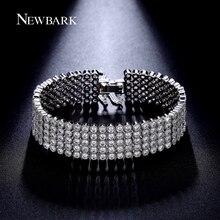 NEWBARK Luxury 5 Rows Cubic Zirconia Bracelet Paved Round Zircon Stone Bracelets Bangles Women Fashion Jewelry