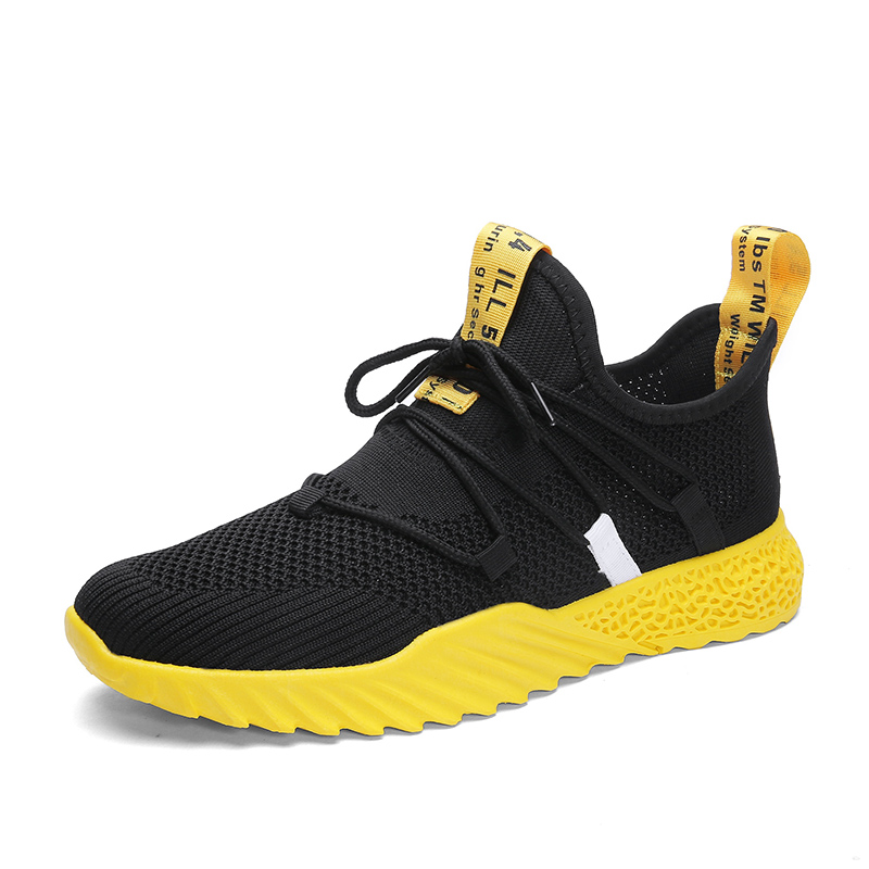 New 4d Print Men Running Shoes Breathable Fly Weave Sneakers Outdoor Sport Black Yellow Athletic Footwear Zapatillas Size 45