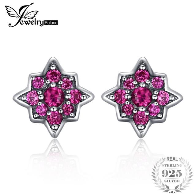 JewelryPalace Fashion Flowers Created Ruby Stud Earrings 925 Sterling Silver Trendy Jewelry For Women Best Party Accessories