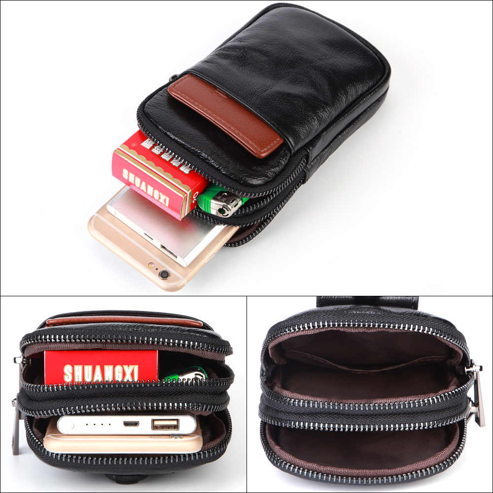 779b3160f71 MISFITS Men Fashion Waist Packs Brand Genuine Leather Phone Waist Pouch  Fanny Pack for Male Hip Bum Belt Bag Lanyard Cell Purse