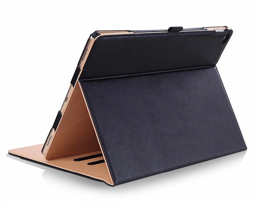 Case for Apple iPad 2017,Premium PU Leather Smart Stand Case Cover  for iPad air 2 Stand Case with Hand Strap +Card Slots Pocket