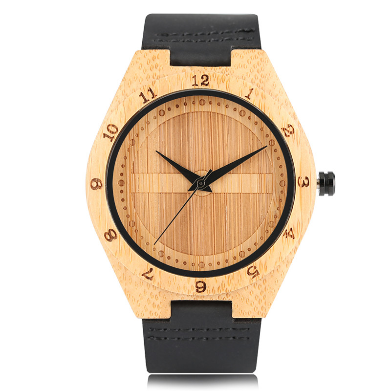2017 New Arrival Men Quartz Wood Watch Hand-made Bamboo Shield Design Dial Black/Brown Genuine Leather Watchband Fashion Watches 2017 new arrival hand made full bamboo design quartz wristwatch bracelet clasp green beige dial simple casual male watch gift