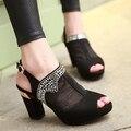 Европейский ночной клуб ну вечеринку стиль сексуальные сандалии пип-ноги прохладный сапоги алмаз сетка пряжки ремня украшения на высоких каблуках женская обувь
