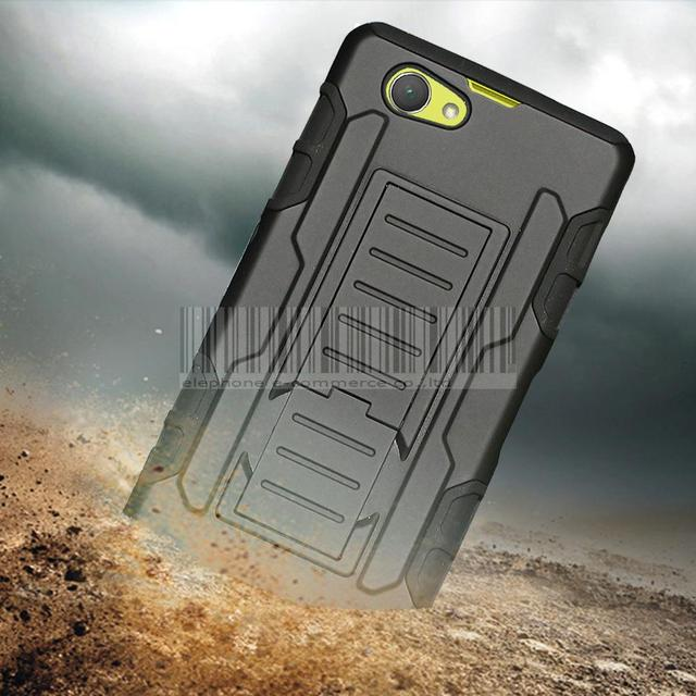 Heave Duty Rugged Hybrid Armor Impact Hard Case+Holster With Belt Clip For Sony Xperia Z1 Compact mini D5503 M51W 4.3 inch