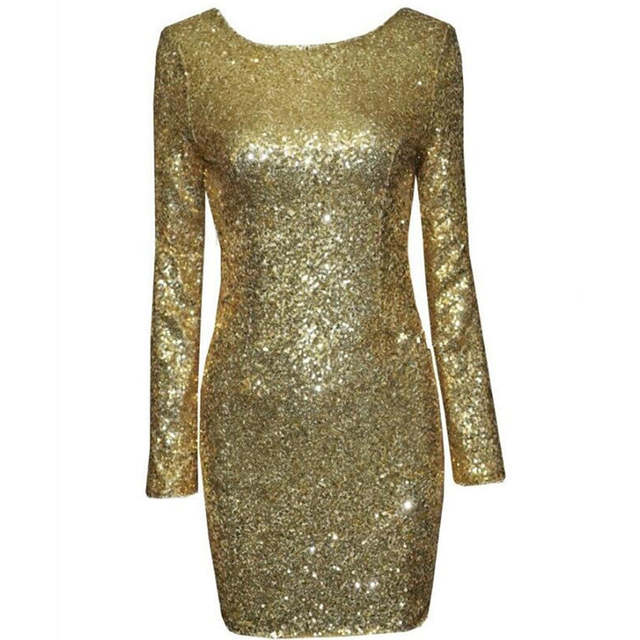 2878ddc606d placeholder Ladies Sexy Glitter Gold Red Black White Long Sleeve Full  Sequins Party Club